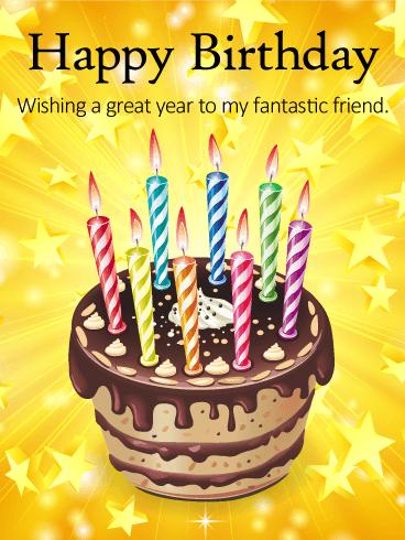 Ta Dah Happy Birthday Cake Card For Friends Birthday Greeting Cards By Davia Birthday Cake Card Happy Birthday Cakes Happy Birthday Wishes For A Friend