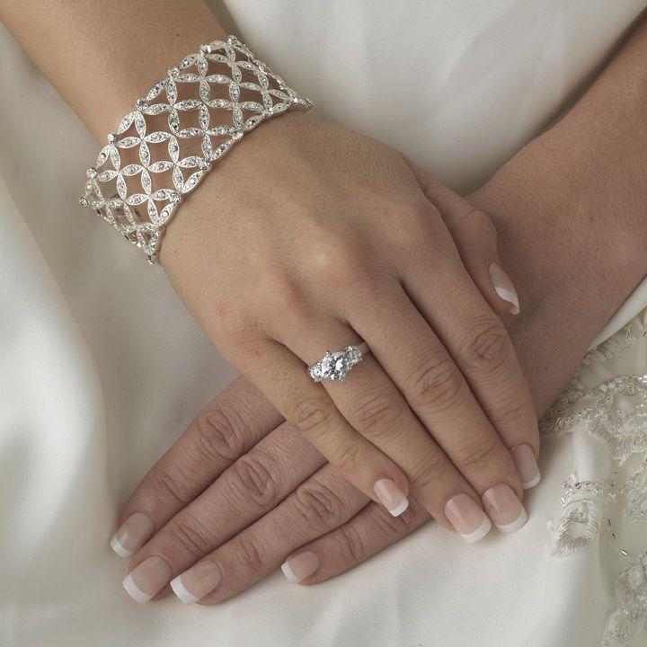 Silver Clear Intricate Stretch Crystal Bracelet B 10493
