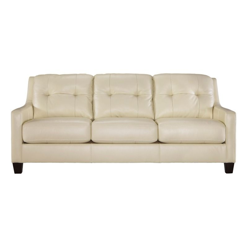 Ashley O Kean Cream Leather Sofa Weekends Only Furniture And Mattress