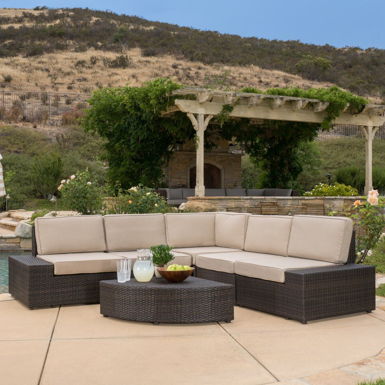 Reddington outdoor brown wicker sectional for Wicker outdoor furniture