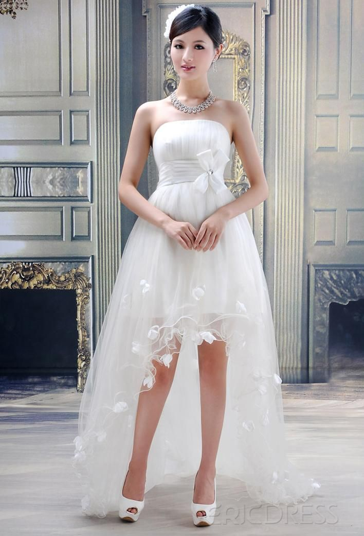 stunning ball gown strapless flowers high-low wedding dress | high