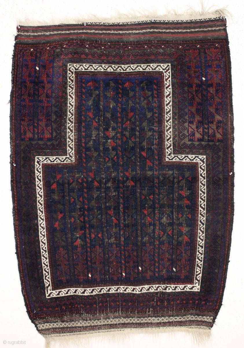 """antique baluch prayer rug with a serious big time mihrab. Overall good condition with even low pile and heavy brown oxidation. Original selvages and fancy kelim ends. Ca. 1880-90. reasonably clean. 3'5""""  ..."""