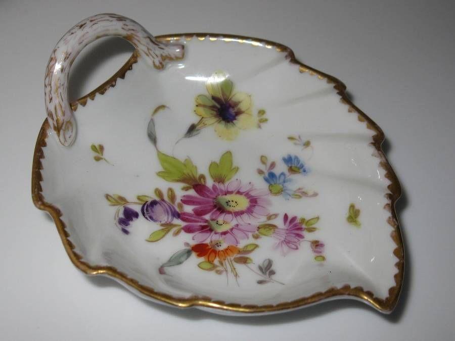 Dresden Porcelain Leaf Dish w Gold Trim Made in Germany by Karl Richard Klem | eBay