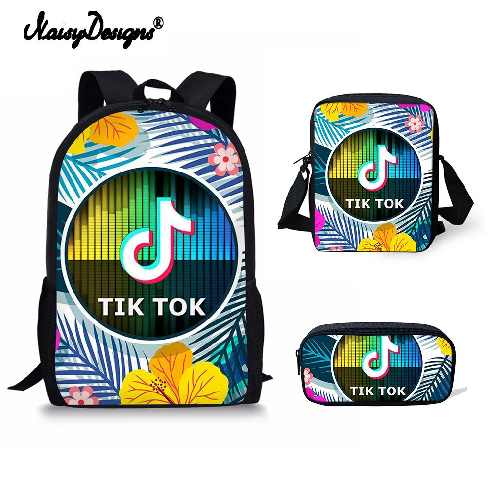 b8cc90ef5 3 sets PCS Tik Tok Backpacks Children Bookbag Girls School Bag ...