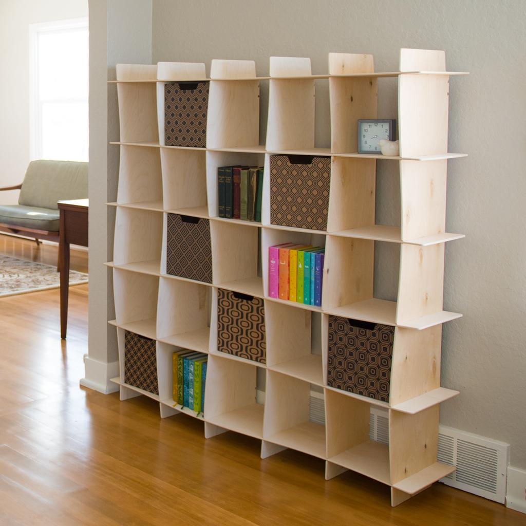 Baltic Birch Wave Modern Bookcase Sprout Apartment Storage Diy Small Apartment Storage Mid Century Bookcase