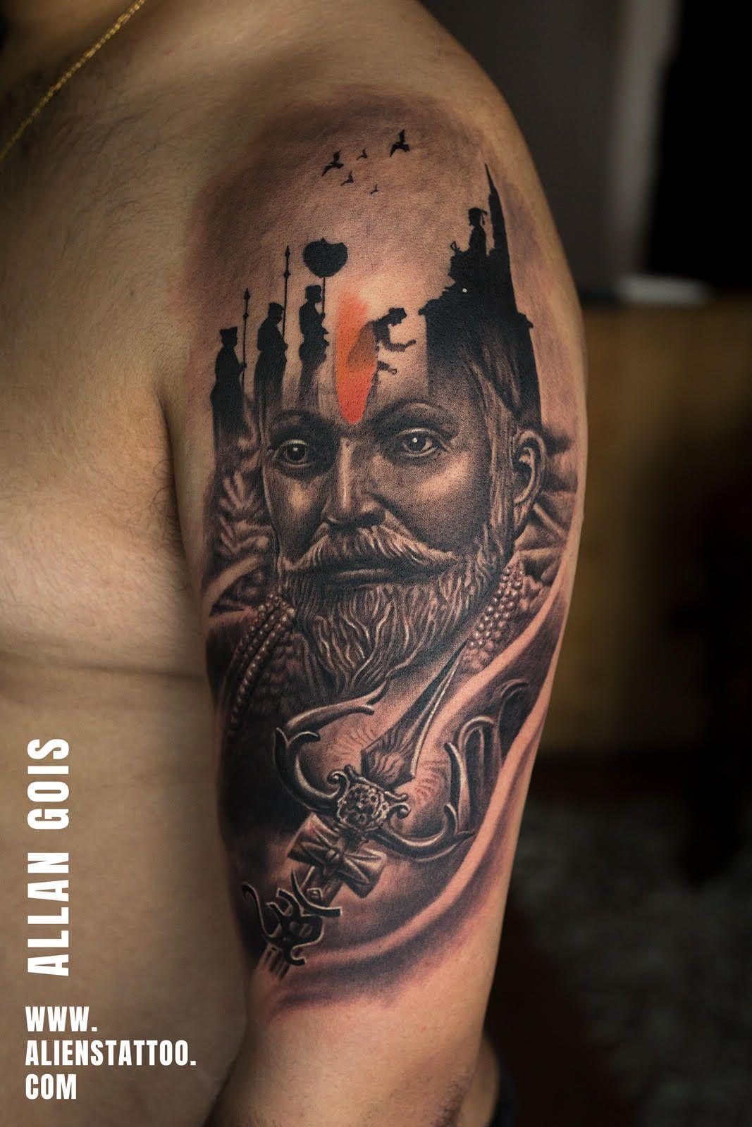 Shivaji Maharaj Tattoo By Allan Gois At Aliens Tattoo India Witness How The Historical And Mythologica Alien Tattoo Shiva Tattoo Design Shivaji Maharaj Tattoo