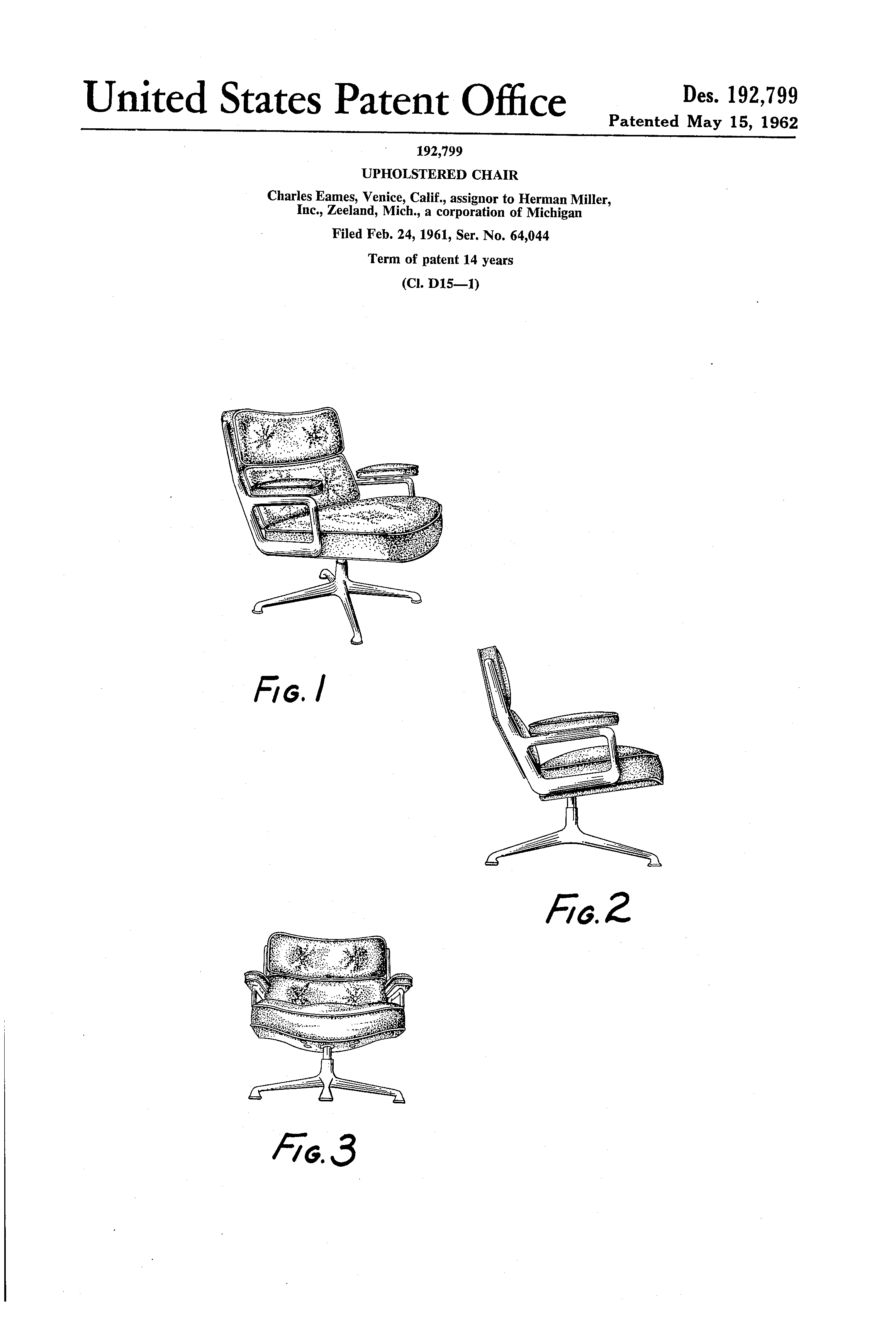 Eames Chair Patent Patent Usd192799 Upholstered Chair Google Patents