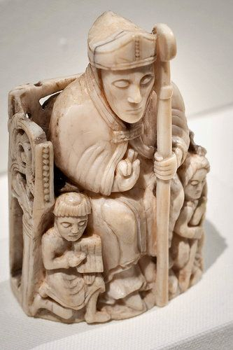 Chess Piece In The Form Of A Bishop With Two Attendants 1150 1200 Scandinavian Probably Trondheim Norway Walrus Ivory Medieval Chess Medieval Medieval Art