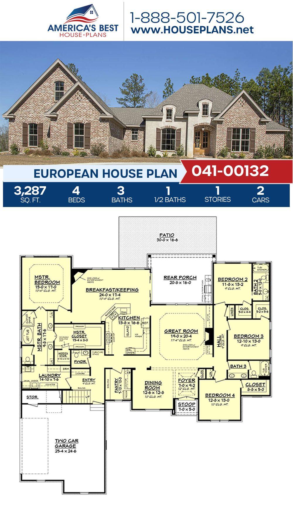 House Plan 041 00132 European Plan 3 287 Square Feet 4 Bedrooms 3 5 Bathrooms European Plan House Plans Best House Plans