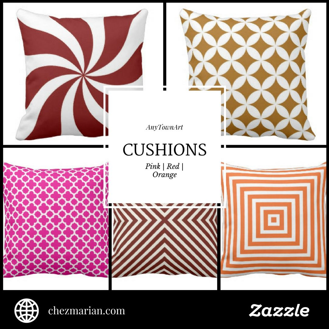 AnyTownArt Cushions | Pink, Red & Orange