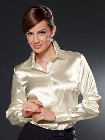 foto de Pinterest • The world s catalog White satin blouse