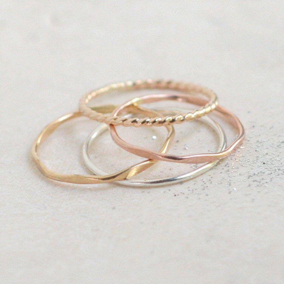 Stacking Ring Set Silver Gold Stacking Rings Four Mixed Metal