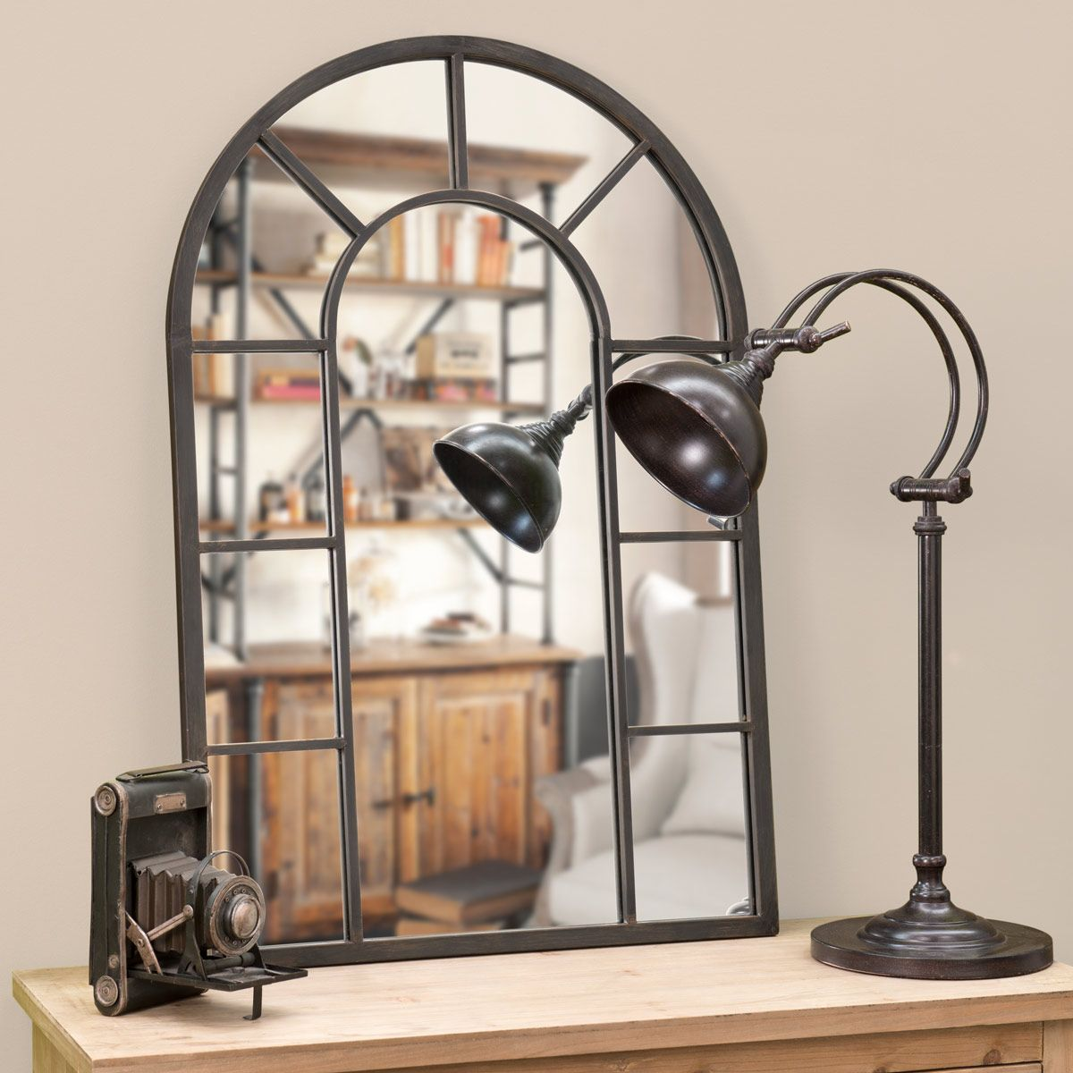 Miroir En Metal Effet Rouille H  Cm
