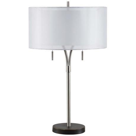 26 H Double Shade Polished Nickel Base Lamp V3396 Lamps Plus Polished Nickel Lamp Lamps Plus