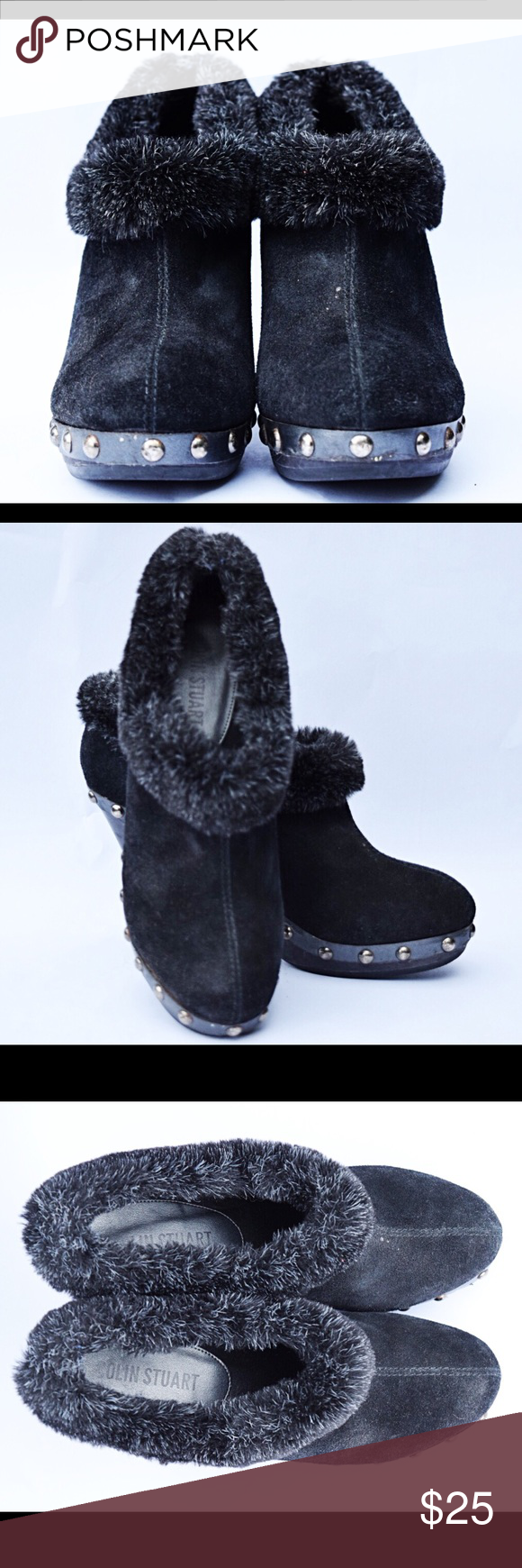 Pair of Black Colin Stuart Booties Very comfortable and warm booties, worn several times so the heels are scuffed. Colin Stuart Shoes Ankle Boots & Booties