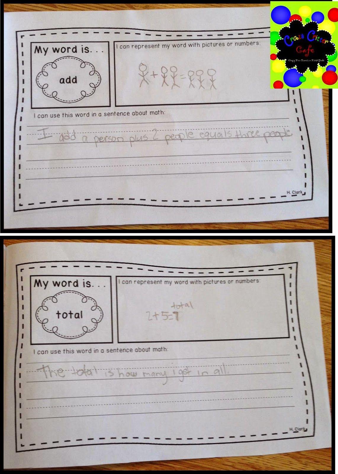 Math Vocabulary Journals