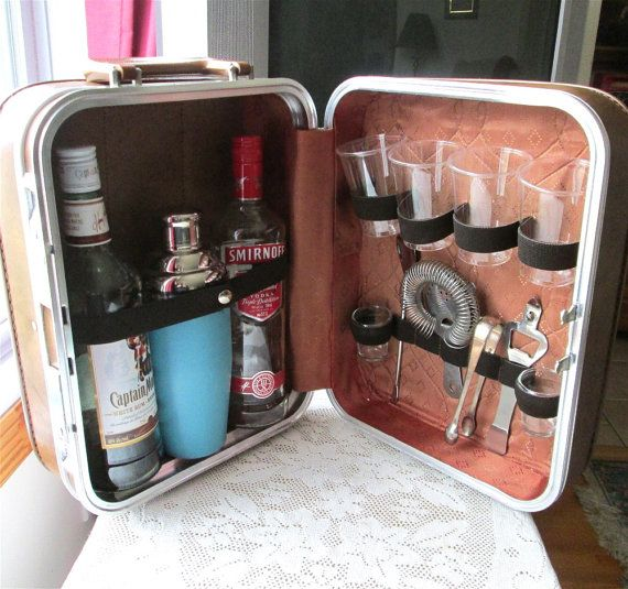 Vintage Portable Travel Bar W Tools Suitcase Cocktail Shaker His