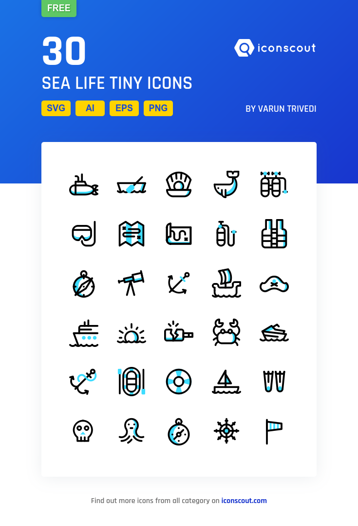 Sea Life Tiny Free Icon Pack - 30 Filled Outline Icons | Seasons in