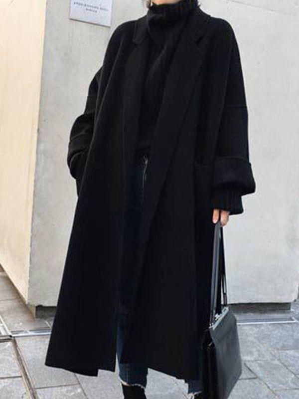 Black Patchwork Belt Oversize Long Sleeve Turndown Collar Fashion Coat