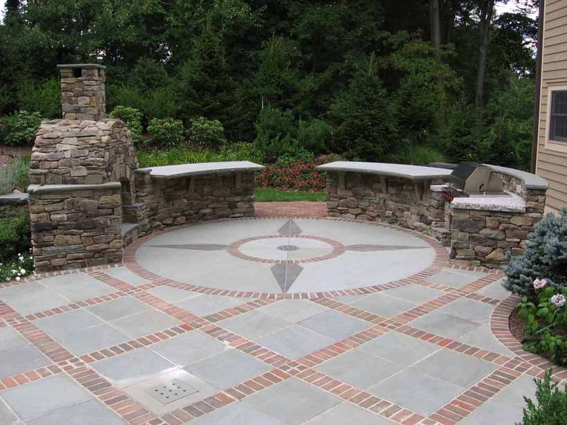 expert bluestone dining patio with brick borders and granite inlay mahwah nj - Brick Stone Patio Designs