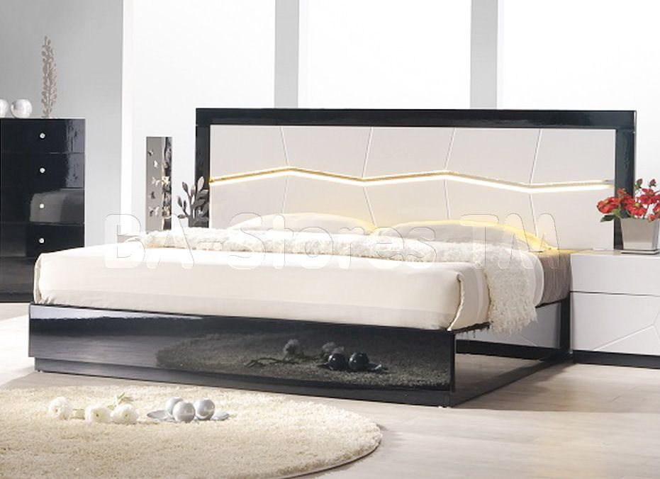Turin Black And White Lacquer Bed With Led Lighting Bedroom