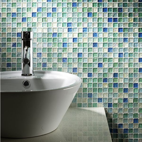 Hammered Pearl Aqua Glass Mosaic 23x23mm buy now at horncastle tiles ...