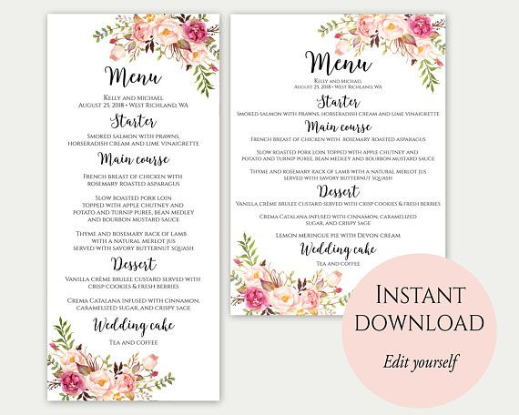 Wedding Menu Template.Wedding Menu Printable Wedding Menu Template Wedding Menu Dinner
