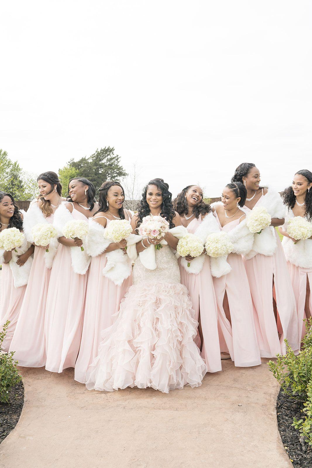 Blush Pink Winter Bridesmaids Blush Pink Luxury Bridesmaids