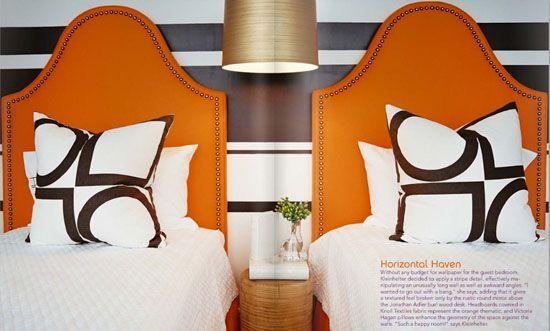 orange headboards graphic black and white pillows