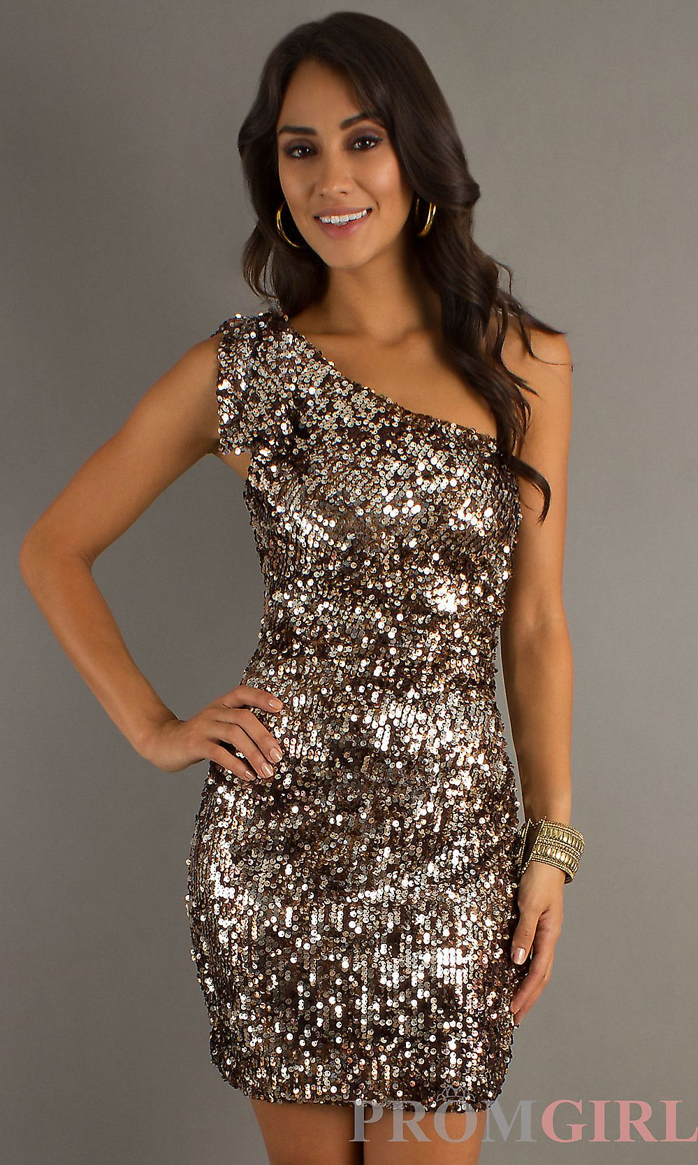 Short One Shoulder Sequin Dress, Bronze Sequin Dresses- PromGirl ...