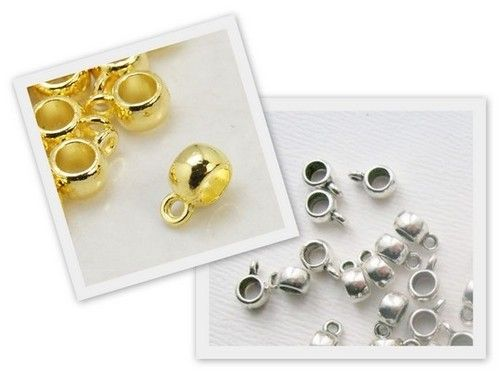 30 x Kumihimo Pendant Slide Bead Bails Silver,Gold /& Black Plated lady-muck1