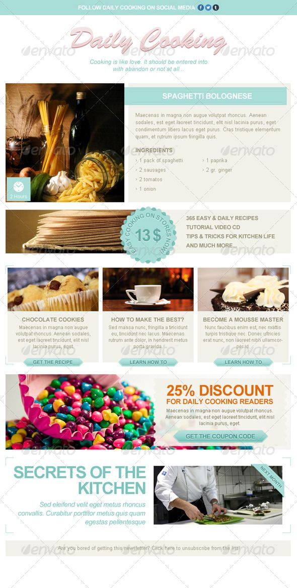 This Newsletter Template Is Specially Designed For Cooking And