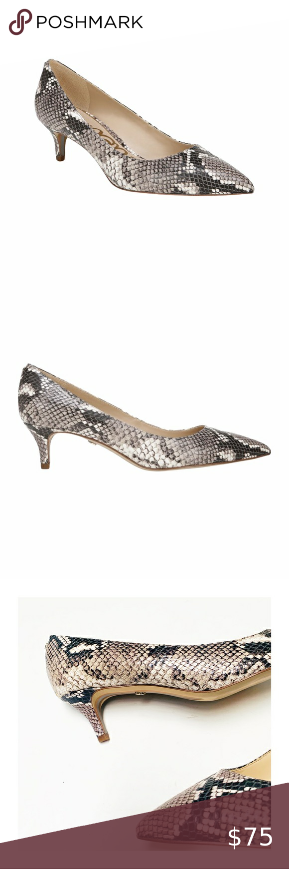 Sam Edelman Dori Snakeskin Leather Kitten Heel In 2020 Snakeskin Leather Kitten Heels Kitten Heel Pumps