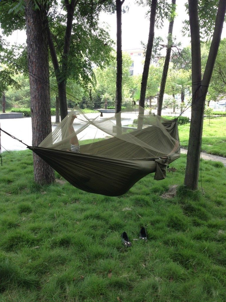 62 28  watch now   portable high strength parachute fabric camping hammock hanging bed with mosquito cheap camping bed   camping hammock  rh   pinterest