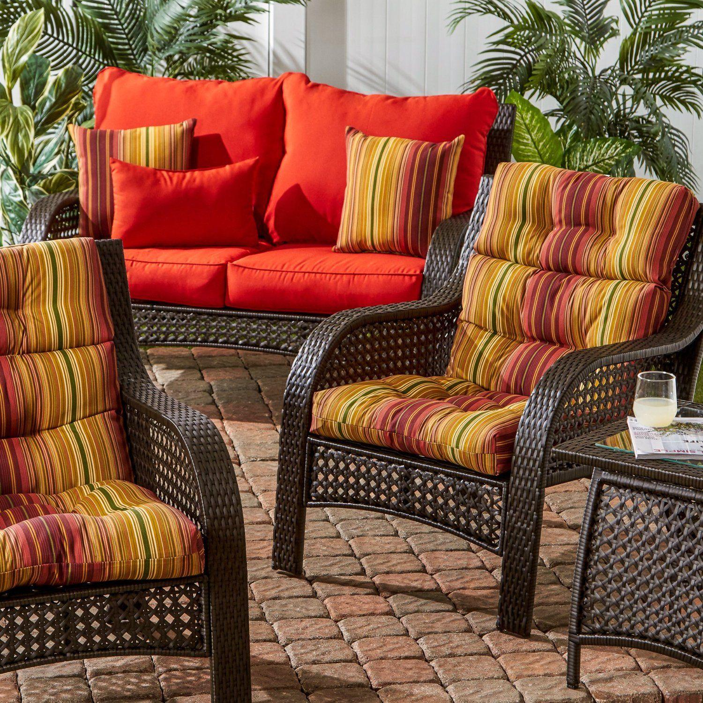 Greendale Home Fashions Indoor/Outdoor High Back Chair Cushions, Kinnabari  Stripe, Set Of