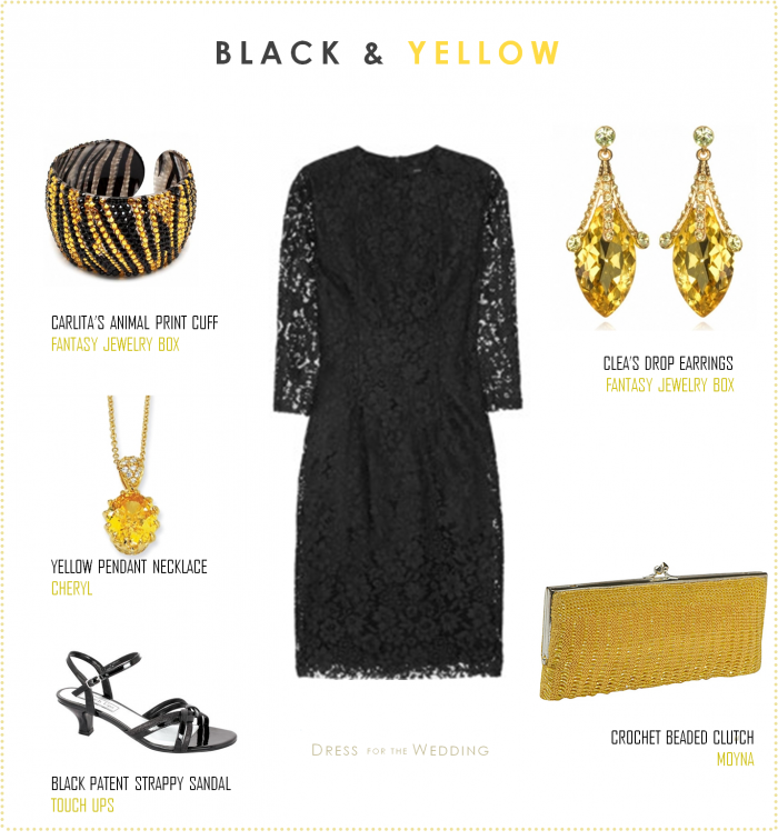 2f67d1149 Black Lace Dress with Yellow Accessories