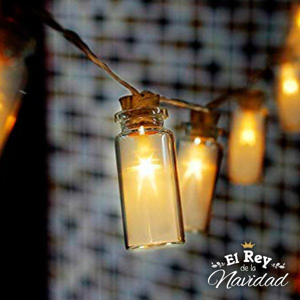 Guirnalda Frasquitos De Vidrio Con Led Calido A Pilas Frasquitos De Vidrio Luces Led De Cadena Guirnalda De Luces