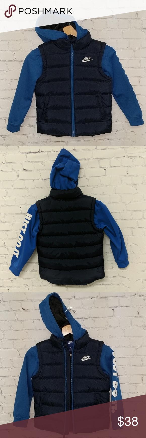 Nike Kid S Hooded Fleece And Puffer Jacket Nike Kids Puffer Jackets Kids Jacket [ 1740 x 580 Pixel ]
