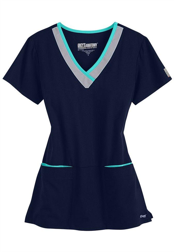 6b8795f01be61 Greys Anatomy Active color block contrast 3 pocket scrub top. Main Image  Greys Anatomy Uniforms