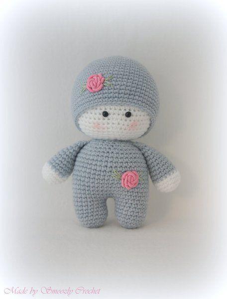 Süße Baby Puppe Hellgrau Gehäkelt Von Smoozly Crochet