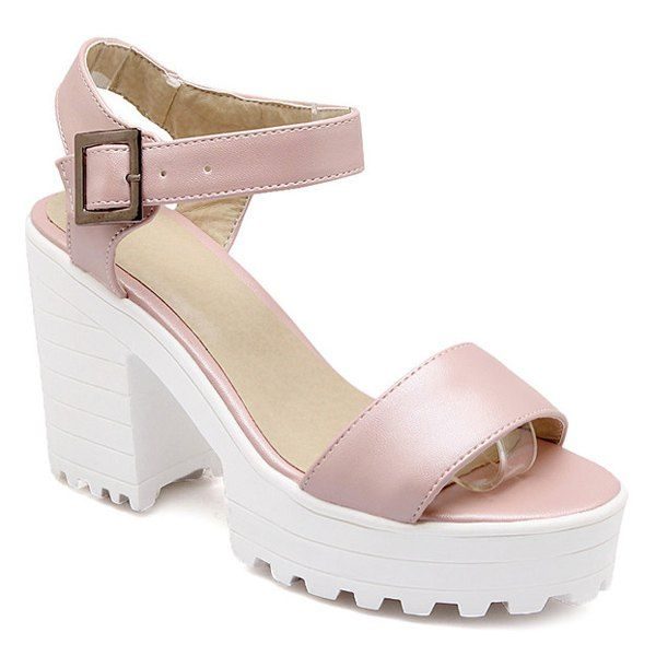Stylish Platform and PU Leather Design Womens Sandals