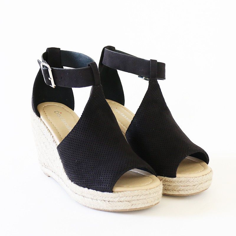 99dc1aa22dc2 Ankle Strap Perforated Faux Suede Espadrille Wedge Platform Sandal Black   Trendyoak  Espadrilles  Casual