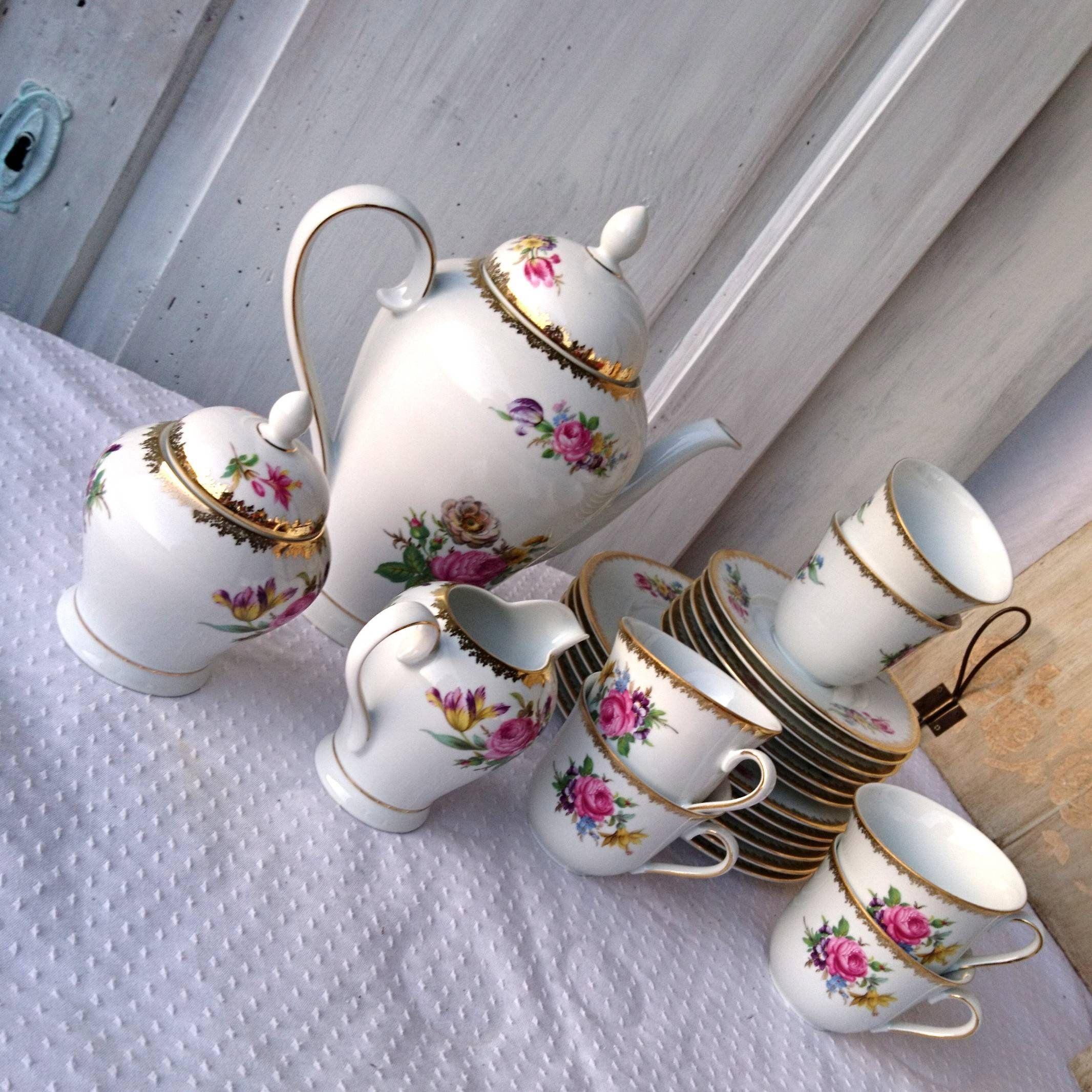 Kaffeeserwice 15tlg Winterling Marktleuthen  Bavaria blumen teller kanne tasse