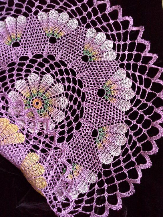 Crochet Doily Lace Lilac Doily Crochet Napkins Doilies Crochet Round