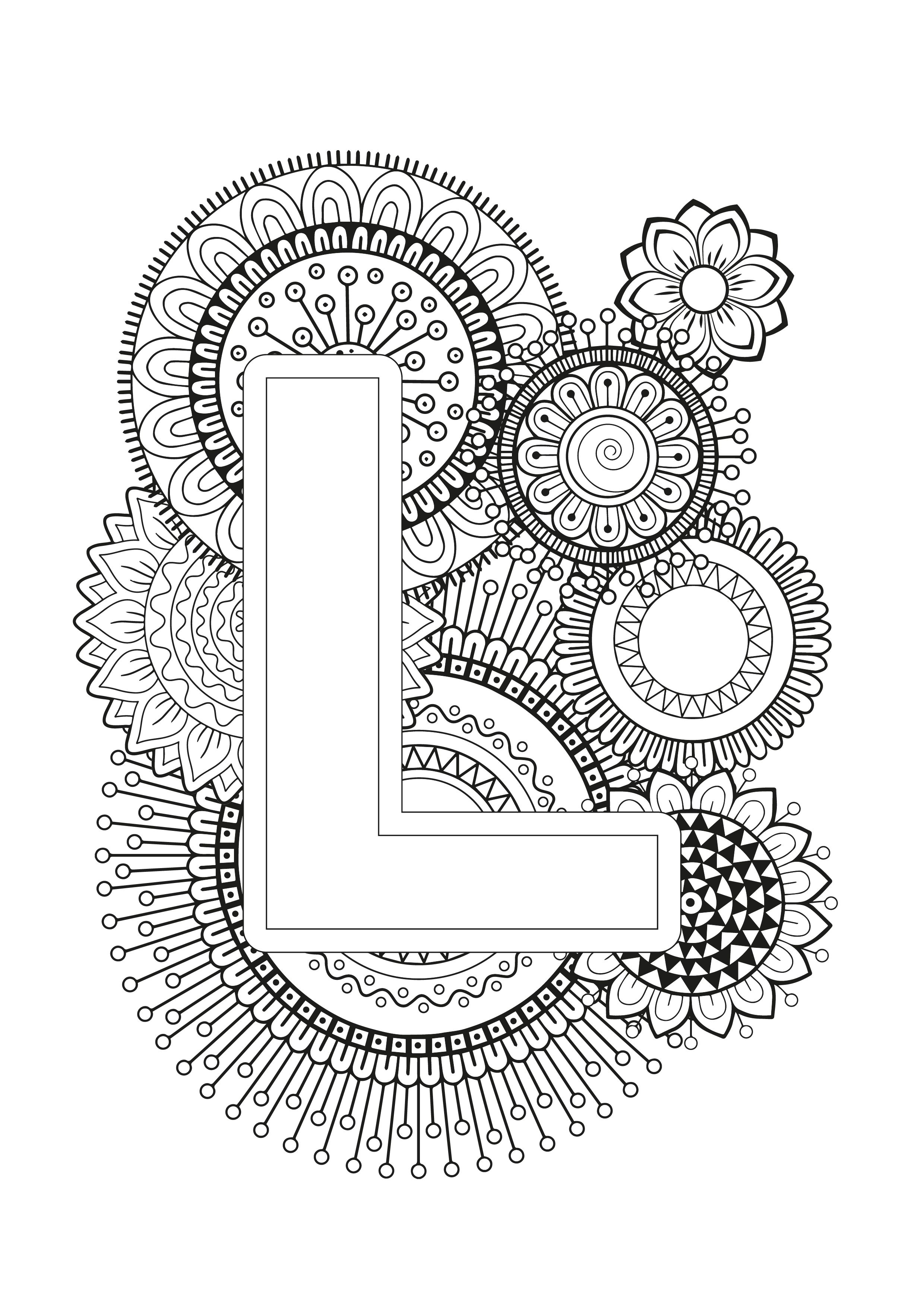 Mindfulness Coloring Page Alphabet Mandala Coloring Pages Alphabet Coloring Pages Coloring Books