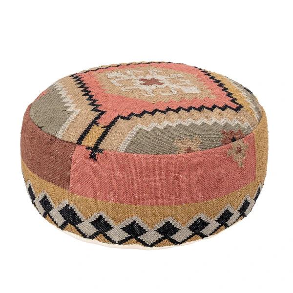 Multicolor Handwoven Cotton Kilim Pouf In 2020 Moroccan Leather