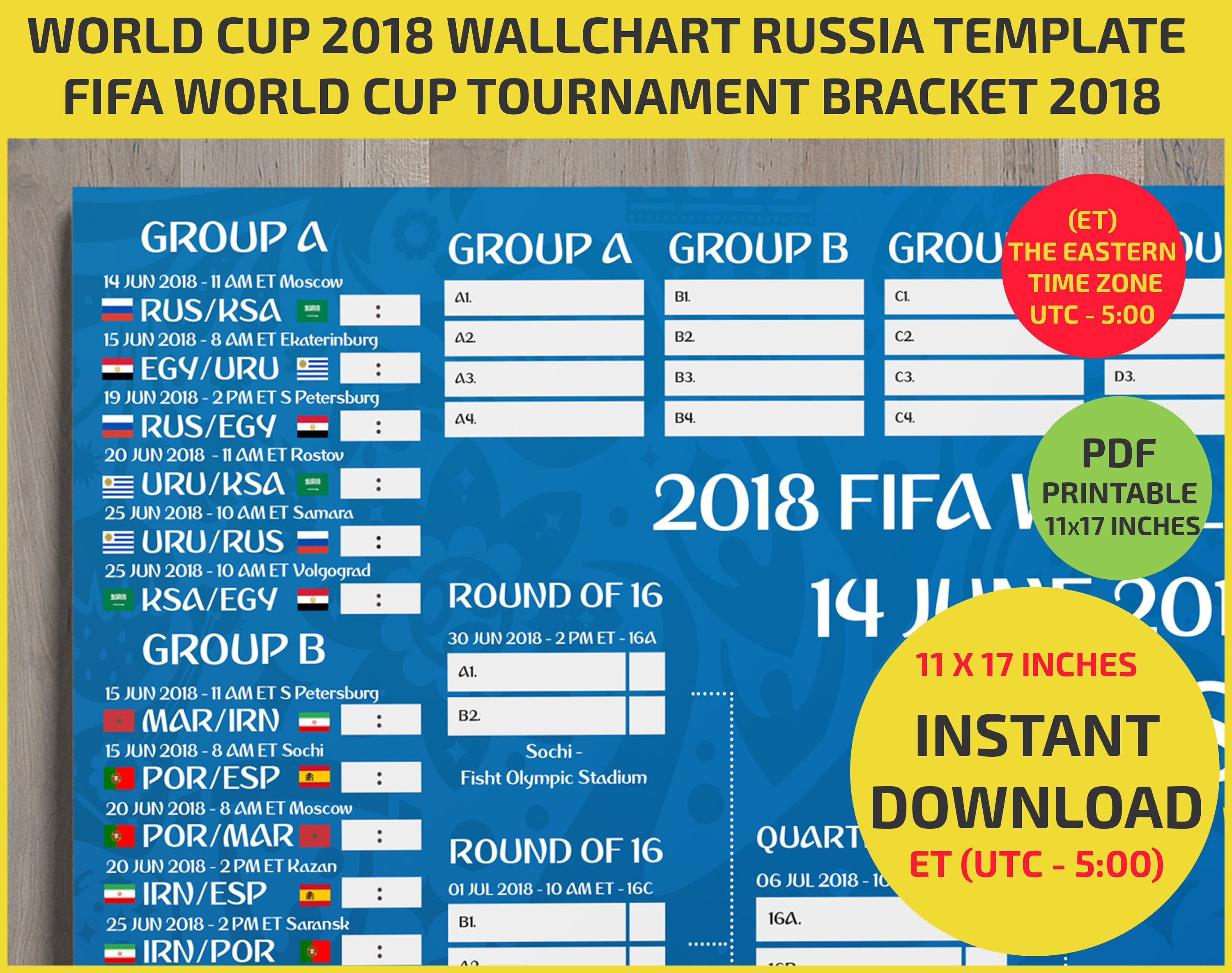 Eastern Time Zone Utc 5 1117 Inches Wallchart Fifa With Images