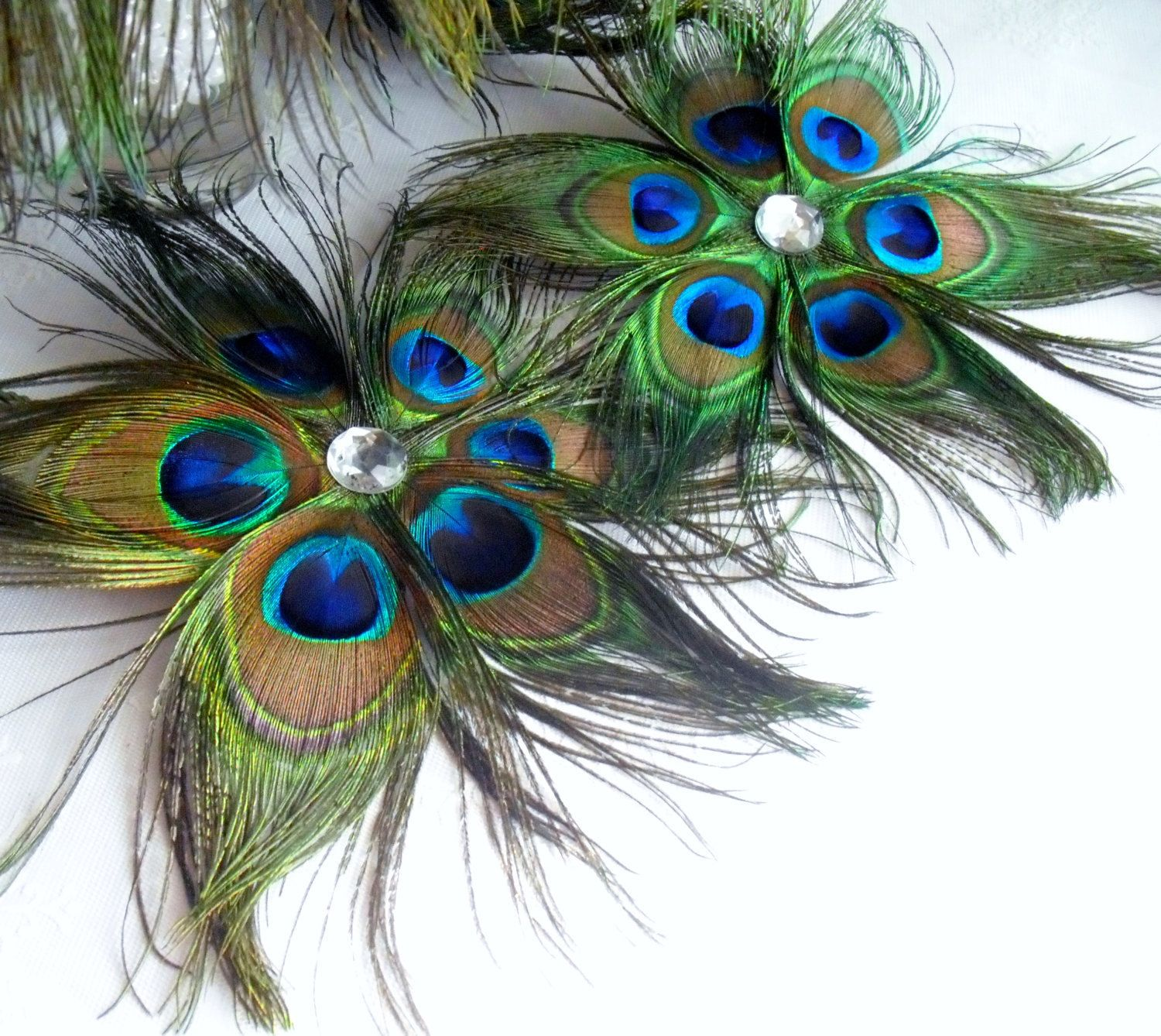 Diy Feather Bouquets Weddings: Peacock Feather Flowers Set Of Six For Making DIY Brides