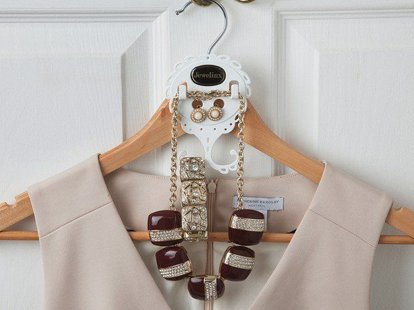 This jewelry hanger organizer discovered by The Grommet makes