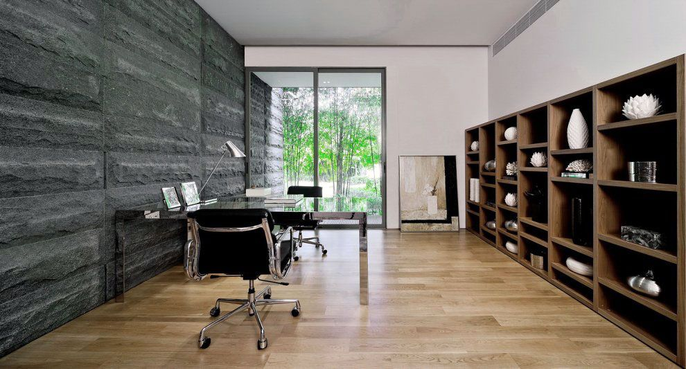 Modern Home Office modern home office design with black stone walls | interior design